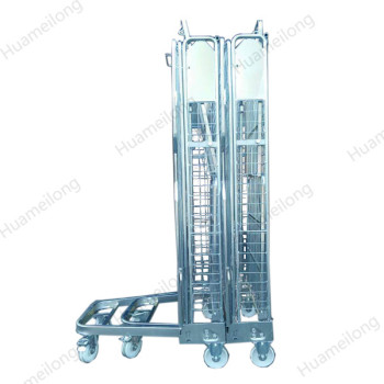 4 sided nesting supermarket portable galvanized foldable steel security wire mesh roll container
