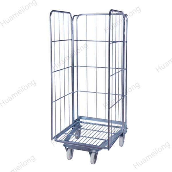 HML almacén de 3 lados directo de fábrica A marco de zinc plegable contenedor de rollo de metal duradero para almacenamiento