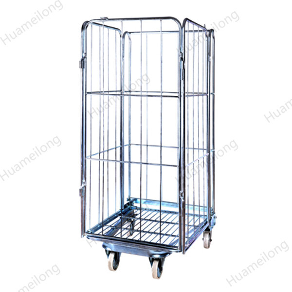 HML customized industrial collapsible metal wire rolling laundry trolley cart with 5 inch wheels