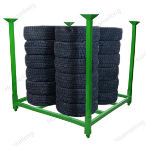 HML heavy duty warehouse stacking portable folding metal pallet storage tire rack for sale