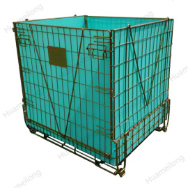 China logistics durable folding stack forklift PET Preform storage wire mesh container