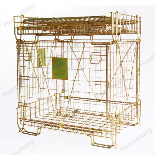Hot sell hot-dip galvanizing pet preform bottle and caps storage collapsible rolling wire mesh cage