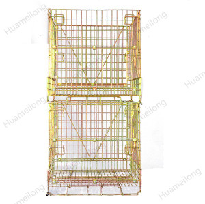 China logitics durable demountable stack forklift PET Preform storage wire mesh container