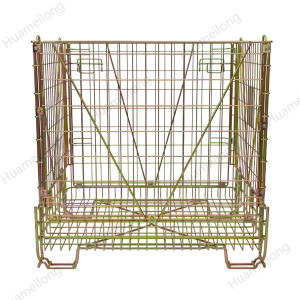 Huameilong custom warehouse zinc stacking collapsible forklift pet preforms metal wire mesh cages