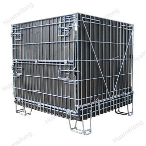 Jaula plegable de la malla de alambre del almacenamiento del metal del metal de la hoja de los PP para el almacén