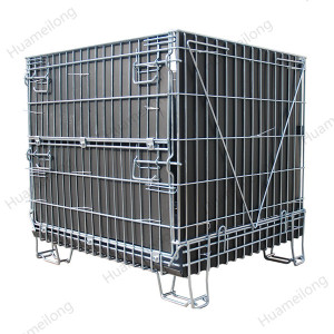 PP sheet portable folding metal steel storage wire mesh cage for warehouse