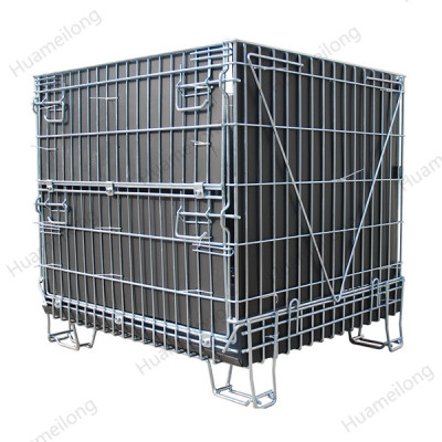 Industrial galvanized PP sheet metal stackable storage bulk wire mesh cage for warehouse