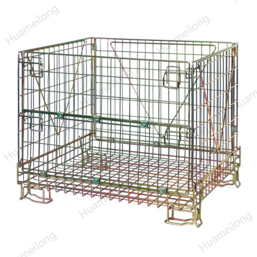 Medium duty euro customize material handling zinc plated mobile durable iron wire mesh cage for wine