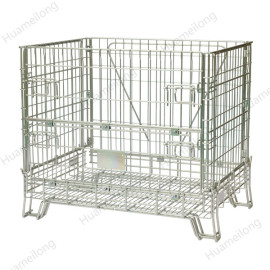 Euro warehouse stacking folding welded wine storage steel wire mesh containers