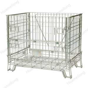 Euro stacking storage foldable steel welded wire mesh container