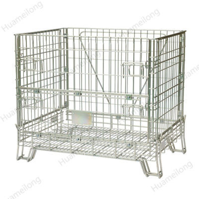 Euro warehouse stacking folding welded cago storage steel wire mesh bin containers used for storage