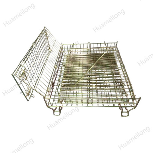 Dalian bright zinc plating welded folding forklift steel storage wire mesh metal cage for wine