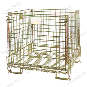Custom industrial warehouse welded stackable collapsible forklift steel wire mesh storage baskets