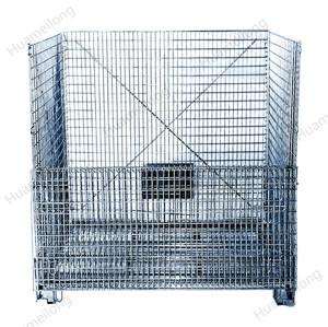 Contenedor industrial apilable plegable contenedor de paleta de malla metálica de acero