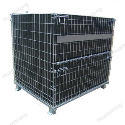 Japan light duty hot dip nesting lockable metallic rolling wire mesh bulk container with drop gate