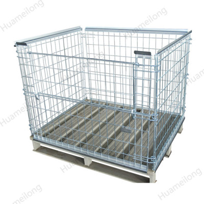 HML Zinc plated euro welded stackable storage steel metal foldable wire mesh pallet cages for sale