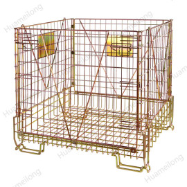 Large european rigid warehouse wire mesh container for storage