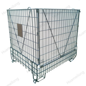 Industrial foldable welded stacking pet preform storage metal wire mesh container
