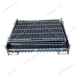 Industrial large galvanized stackable forklift metal steel wire mesh storage bulk bins