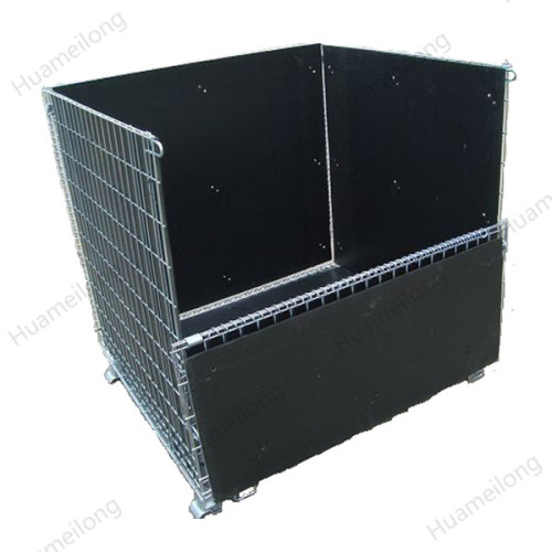 High quality stacking galvanized save space warehouse wire mesh container