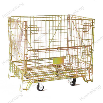 Euro foldable large industrial galvanized stackable storage containers with wheels