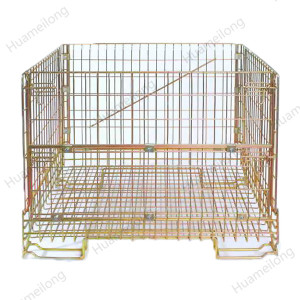 Industrial stacked lockable zinc collapsible storage wire mesh container