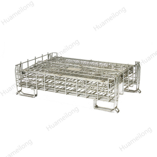 Galvanized foldable collapsible storage metal wire mesh container
