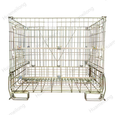 Medium duty cheap industrial warehouse foldable stacking steel wire mesh container