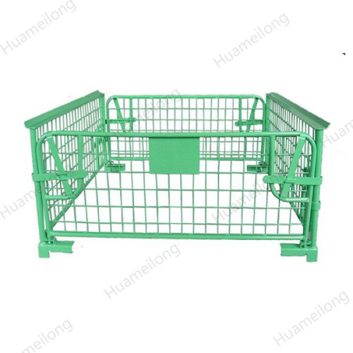 Gravity lock industrial transport stacking collapsible lockable wire pallet cage with wooden pallet