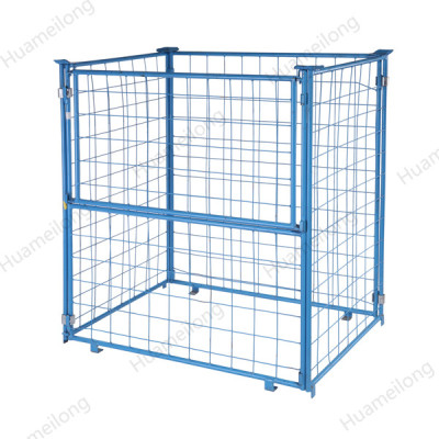 Powder coated warehouse customized forklift durable rigid folding bulk wire metal cage pallet