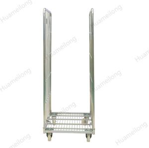 Carretilla plegable de la malla de alambre de metal del almacenamiento galvanizado
