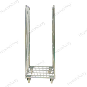 Galvanized storage foldable metal wire mesh rolling cage cart