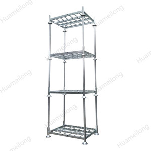 HML heavy duty galvanized stacked folded assembled metallic vertical post pallet rack for fabric roll