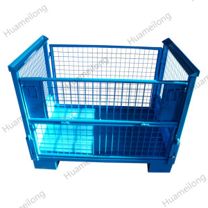 HML OEM Heavy duty welding stackable foldable steel wire mesh pallet stillage for auto industry