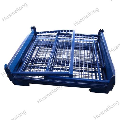 HML OEM Heavy duty welding stackable foldable steel wire mesh pallet stillage for auto industry