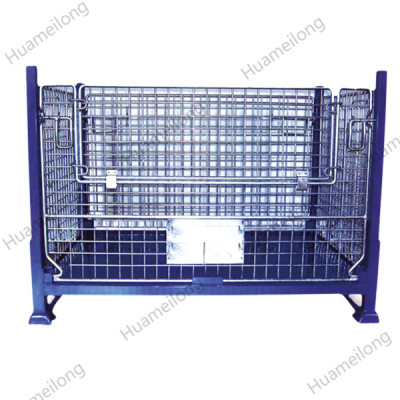 Powder coated warehouse welded collapsible storage lockable metal stillage container for sale