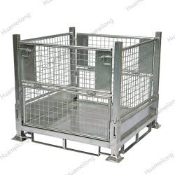 Industrial warehouse transport demountable folding hot dipped galvanized storage metal cage stillage