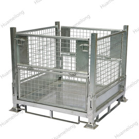Industrial warehouse transport demountable folding hot dipped galvanized storage metal cage stillage