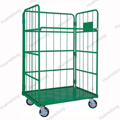 HML Medium Duty Industrial Supermarket Folding Storage Metal Roll Pallet Cage Trolley