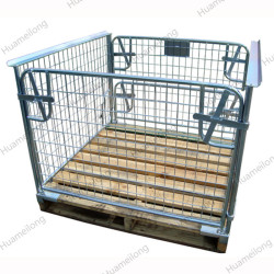 HML Foldable Stackable Lockable Mesh Wire Metal Steel Storage Container With Wooden Pallet