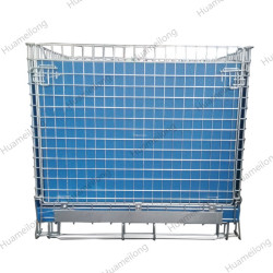 HML zinc galvanized storage collapsible metal wire mesh container with PP sheet