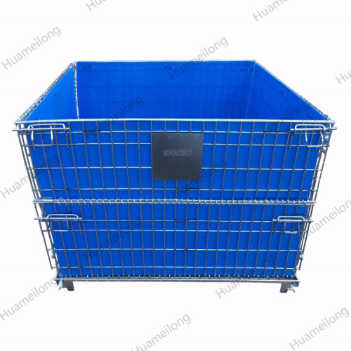 HML Warehouse industrial logistic zinc galvanized collapsible metal wire mesh storage container