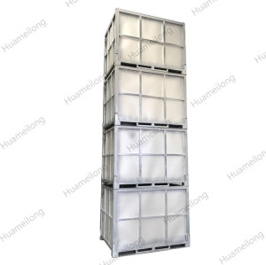 Industrial heavy duty stackable folding rigid metal hot dip galvanised box pallet