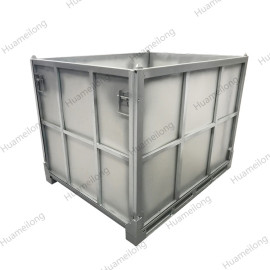 Industrial heavy duty stackable folding rigid metal hot dip galvanised box pallet