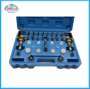Universal vehicle AC Conditioner Repair tool box , A/C Leak Testing Detector Tool / Flush Fitting Adapter Kit