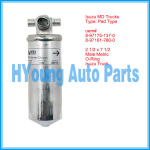 Isuzu Truck Receiver Drier 2 1/2 x 7 1/2 Male Metric O-Ring, Isuzu N-series GMC W-series 1995-2001 NEW 8973669570 8973669910 8971751370