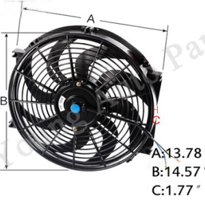 14 inch Universal Fan Radiator Cooling Electric Radiator Engine Cooling Fan 12V 90W 8 Blades 04SDB4014ABK
