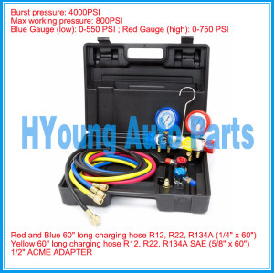 auto air AC Manifold Gauge Set R134a r134 R410A R404A R22 with Hoses Coupler Adapters