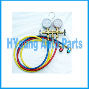 "R134 Brass gauge set EPA safe, heavy duty vibration free gauges 3 charging hoses; yellow is 60"", blue & red are 36"" Low and High Side R134a couplers"