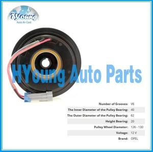 Delphi 6PK 129mm 12v fit for Opel Automotive air con a/c Compressor clutch bearing size 40x62x20mm